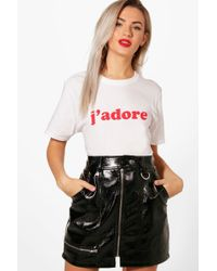 Boohoo - Danielle J'adore Slogan T-shirt - Lyst