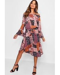 a313f0f1ce767 Lyst - Boohoo Wrap Front Tierred Bohemian Midi Dress in Red