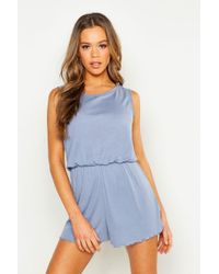 19dec7094a7 New Look Blue Stripe One Shoulder Frill Hem Playsuit in Blue - Lyst