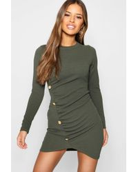 Boohoo - Petite Military Button Detail Long Sleeve Midi Dress - Lyst