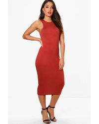 Boohoo - Amelle Racer Neck Jersey Bodycon Dress - Lyst