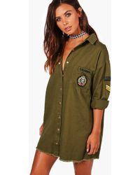 Boohoo - Petite Cara Military Shirt Dress - Lyst