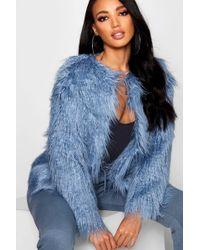 Boohoo - Petite Edge To Edge Mongolian Faux Fur Coat - Lyst