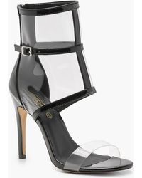 Boohoo - Patent Clear Strap And Cage Sandals - Lyst