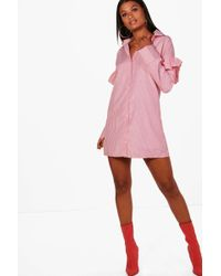 Boohoo - Rosie Ruffle Shoulder Stripe Shirt Dress - Lyst