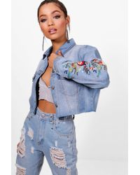 Boohoo - Floral Embroidered Cut Off Denim Jacket - Lyst