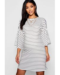 43928b61860a Boohoo - Maternity Mono Stripe Frill Sleeve Tshirt Dress - Lyst