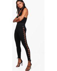 Boohoo - Premium Lace Up Side Leggings - Lyst