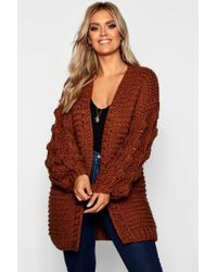 Boohoo - Plus Oversized Hand Knitted Chunky Cardigan - Lyst