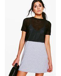 Boohoo | Melissa Mesh 2 In 1 Dress | Lyst