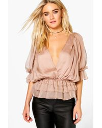 Boohoo   Evie Ruffle Detail Wrap Over Blouse   Lyst