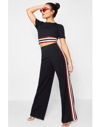 Boohoo - Holly Tape Insert Crop And Trouser Set - Lyst
