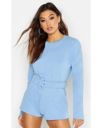 34a034ea11 Lyst - Boohoo Utility Belted Denim Playsuit in Pink
