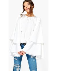 Boohoo - Exaggerated Tiered Sleeve V Back Top - Lyst