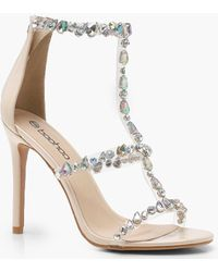 Boohoo - Patent Embellished Cage Sandals - Lyst