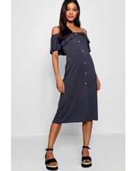 1f8613503944e Lyst - Boohoo Floral Off The Shoulder Midi Dress in Blue