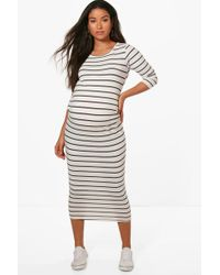 2579cd44c5c14 Boohoo Maternity Wide Stripe Rib Long Sleeve Midi Dress in Black - Lyst