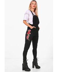 Boohoo - Sophia Rose Embroidered Slim Fit Denim Dungarees - Lyst