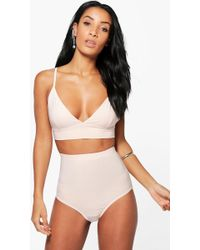 Boohoo - Slinky Triangle Bralet & Hotpant Co-ord - Lyst