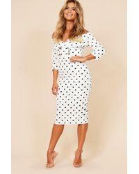 Boohoo - Plus Button Detail Bardot Midi Dress - Lyst