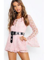 75e9845c6c Boohoo - Boutique Heavy Crochet Lace Up Playsuit - Lyst