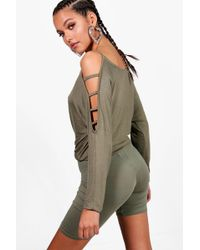 Boohoo - Strappy Sleeve Loose Fit Top - Lyst