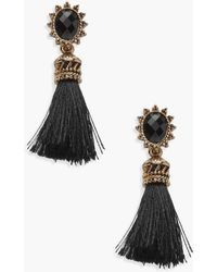 Boohoo - Engraved Frame Tassel Earrings - Lyst