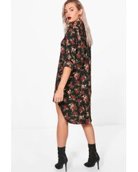 Boohoo - Floral Shirt Dress - Lyst