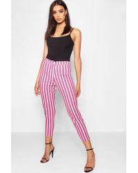 00618a90856a5 Boohoo Leather Look Side Stripe Jogger - Lyst