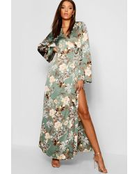 1cd8721a70 Lyst - Boohoo Tall Floral Belted Wrap Kimono Maxi Dress in Black