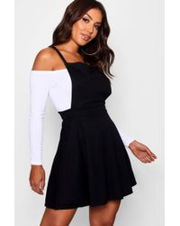89ae0d7639b5 Boohoo Inna Cold Shoulder Shirt Dress in Black - Lyst
