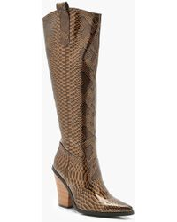 Boohoo - Over The Knee Snake Cowboy Boots - Lyst