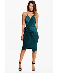 Boohoo - Evie Wrap Detail Plunge Slinky Midi Dress - Lyst
