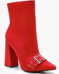 b9b36316e991 Boohoo Metallic Heel Clip Sling Back Shoe Boots in Red - Lyst
