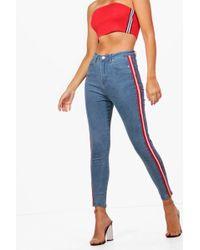 Boohoo - High Rise Sports Stripe Skinny Jeans - Lyst