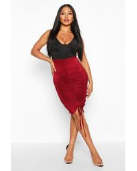 Boohoo - Womens Ruched Drawstring Midi Skirt - Red - 6 - Lyst