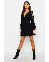a6b0cd67f180d Lyst - Boohoo Lace Insert Long Sleeve Shift Dress in White