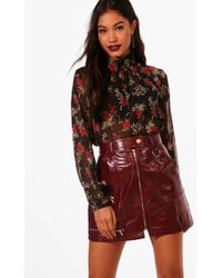 Boohoo - Ditsy Floral Woven High Neck Blouse - Lyst
