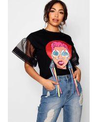 Boohoo - Natalie Face Print Earring Frill Sleeve T-shirt - Lyst