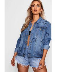 Boohoo - Plus Star Embroidered Denim Jacket - Lyst