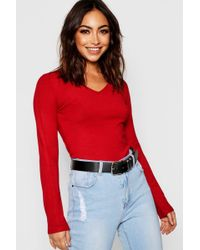Boohoo - V Neck Knitted Top - Lyst