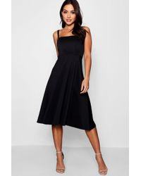 Boohoo - Boutqiue Mary Tie Shoulder Midi Skater Dress - Lyst