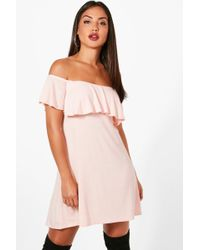 Boohoo | Louise Frill Detail Off The Shoulder Swing Dress | Lyst