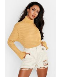 efdc3af905d6 Boohoo Daisy Flare Sleeve Big Knit Jumper in Brown - Lyst