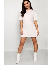 Boohoo - Babydoll Tonal Embroidered T-shirt Dress - Lyst