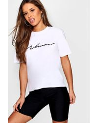 Boohoo - Petite Woman Slogan T-shirt - Lyst