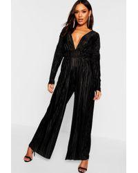Boohoo - Plisse Pleated Long Sleeve Jumpsuit - Lyst