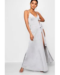 Boohoo - Slinky Strappy Side Tie Maxi Dress - Lyst