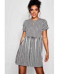 Boohoo - Shelly Striped Gathered Waist Sun Dress - Lyst