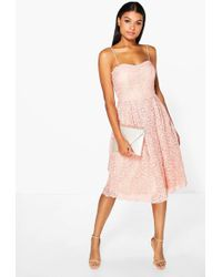 Boohoo - Boutique Embroidered Strappy Midi Skater Dress - Lyst